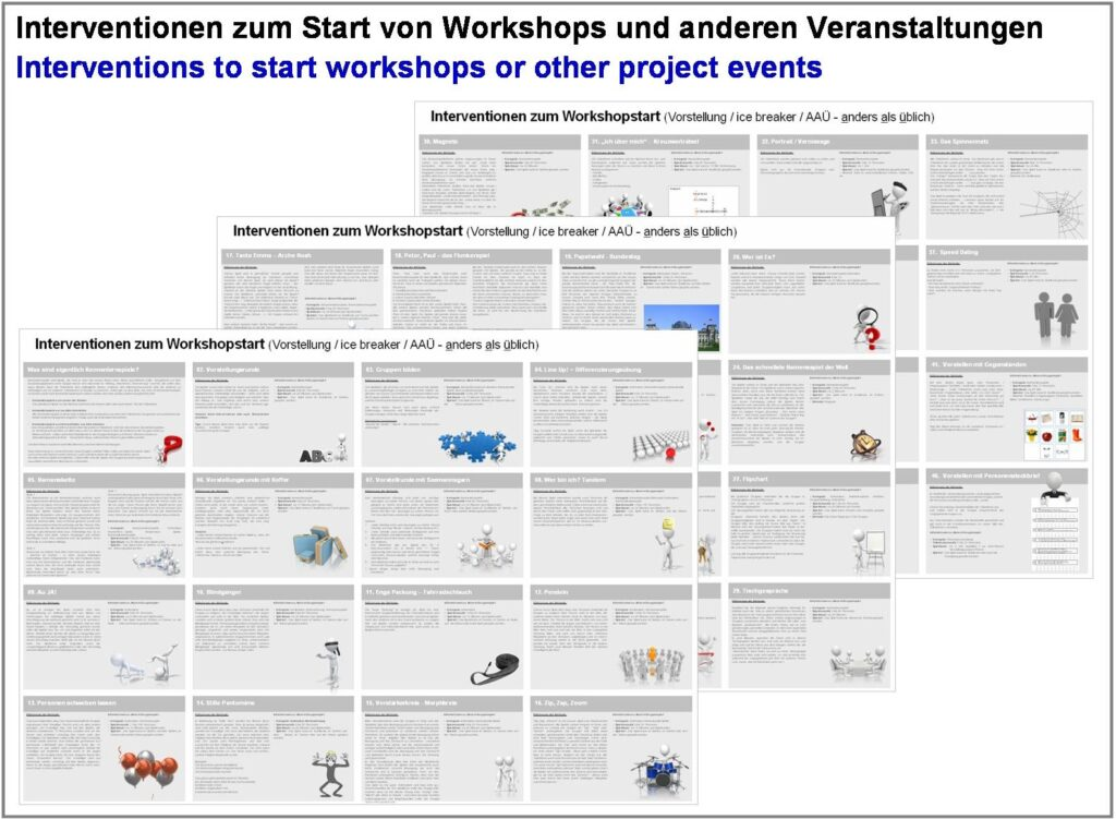 Toolbox for interventions to start workshops or other project events